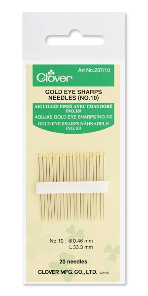 Clover Gold Eye Sharps Needles No. 10