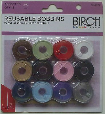 Birch Pre-Wound Reusable Bobbins Mixed- Pack of 12-103