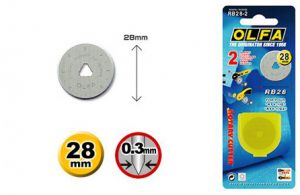 OLFA® 28mm Tungsten Tool Steel Rotary Blades - 2/Pk-190