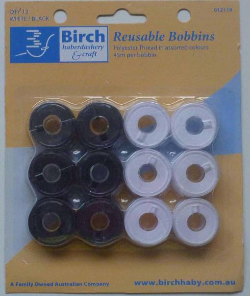 Birch Reusable Bobbins Black/White