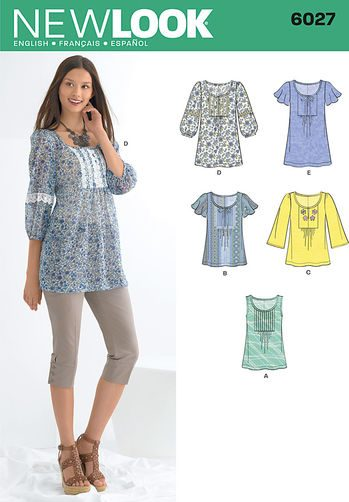 Sewing Pattern Tops Vests 6027