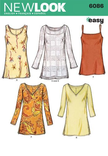 Sewing Pattern Tops Vests 6086