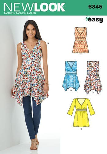 Simplicity New Look Sewing Pattern Tops Vests 6345 | ALISELLOU DESIGNS