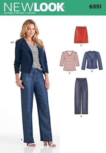 Sewing Pattern Skirts Pants 6351
