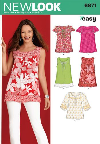 Sewing Pattern Tops Vests 6871