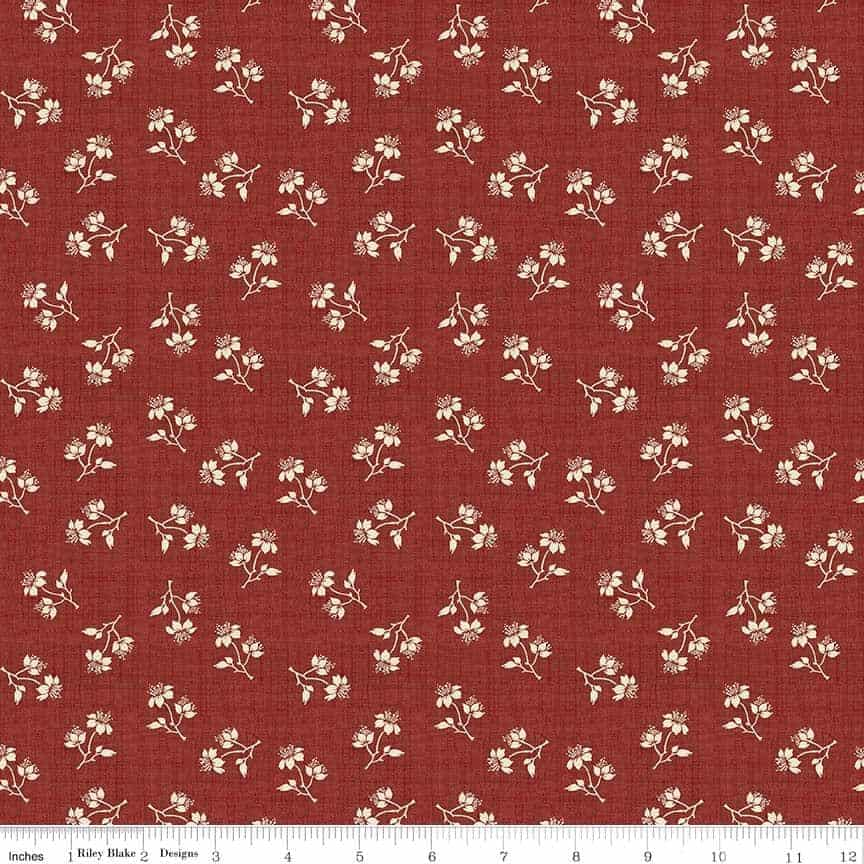 Penny Rose Fabrics Toile De Jouy Blossoms Red C6133 Red
