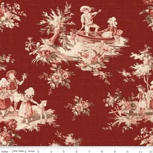penny rose fabrics toile de jouy main red c6130 red alisellou designs. Black Bedroom Furniture Sets. Home Design Ideas