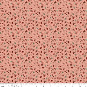 Toile de Jouy Rosebuds Coral C6135-Coral
