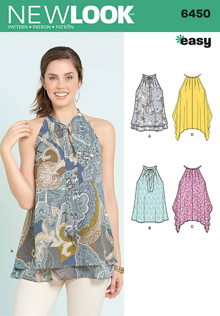46e8ef765b85d Simplicity New Look Sewing Pattern – Easy Tops with Optional Neck Tie – 6450