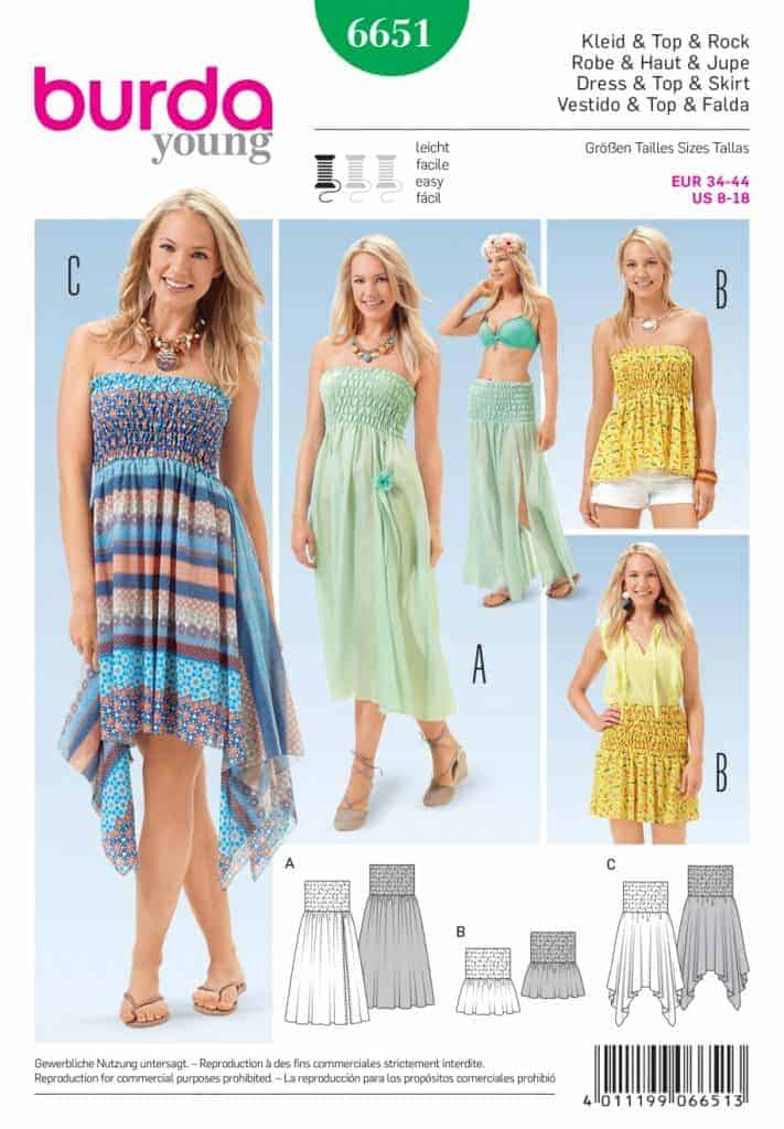Discontinued) Burda Style Sewing Pattern - 6651 - Dresses Top ...