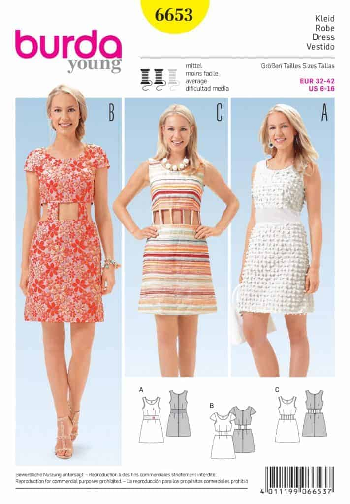 Discontinued) Burda Style Sewing Pattern - 6653 - Dresses ...