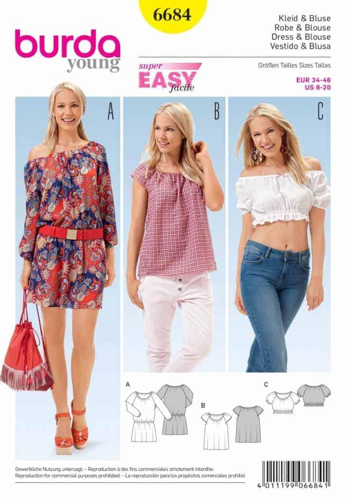 Burda Style Sewing Pattern - 6684 - Dresses & Blouse | ALISELLOU DESIGNS