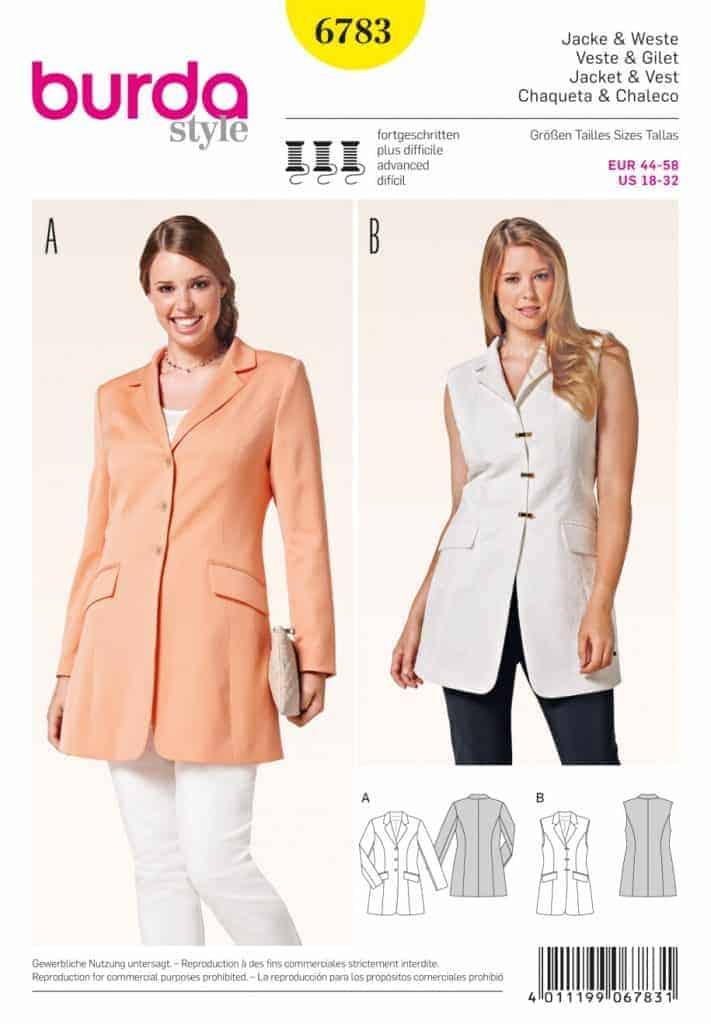 Discontinued) Burda Style Sewing Pattern - 6783 - Jacket & Vest Plus ...