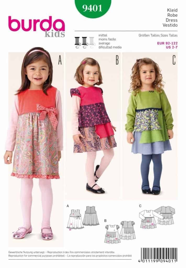 Burda Style Sewing Pattern - 9401 - Dress Toddlers | ALISELLOU DESIGNS