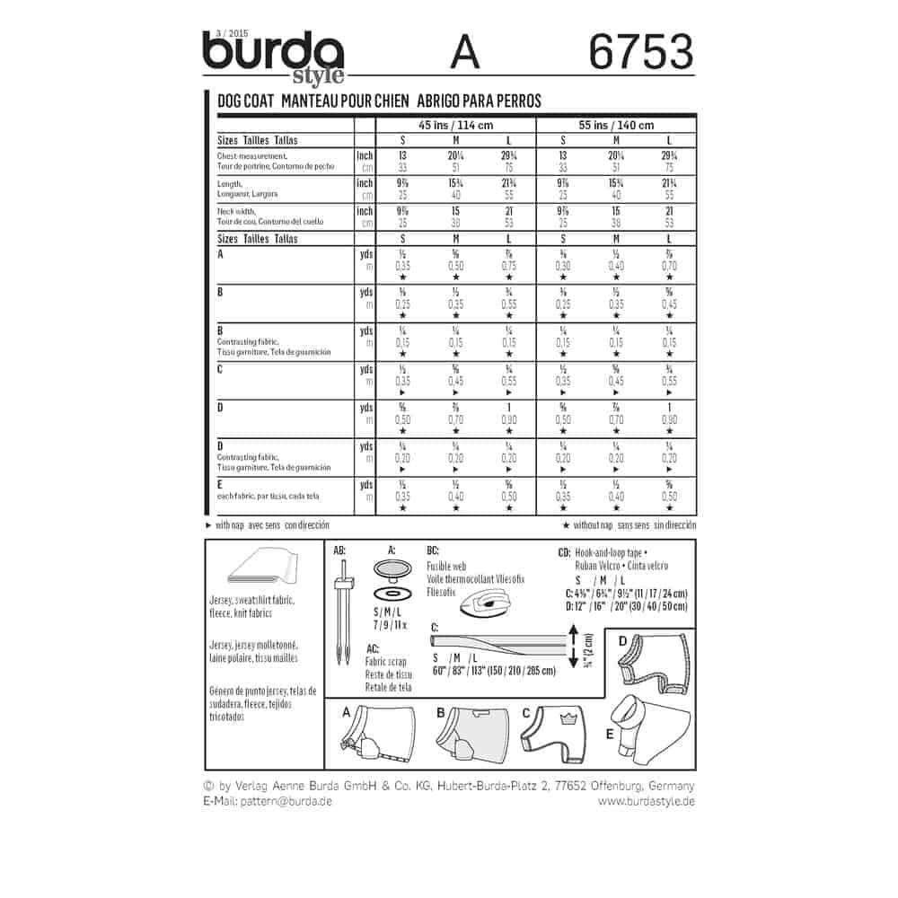 Burda Style Sewing Pattern - 6753 - Dog Coat Accessories | ALISELLOU ...
