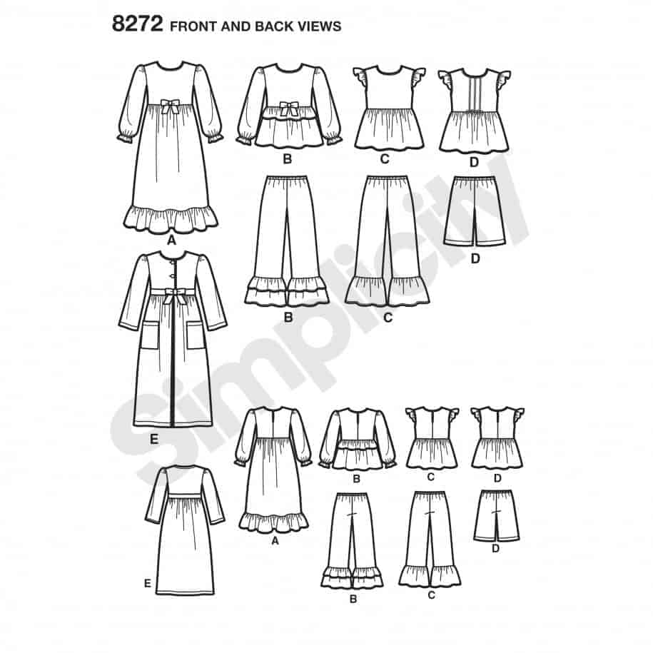Simplicity Sewing Pattern 8272-K5 - Child\'s and Girl\'s Sleepwear and ...