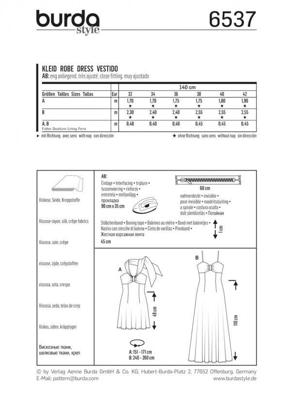 Burda Style Sewing Pattern - 6537 - Misses\' Halter Neck Dress ...