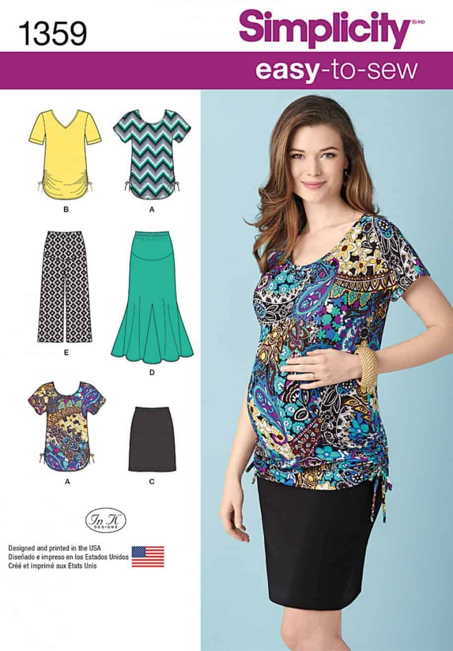 713a5d4d1fe81 (DISCONTINUED)-Simplicity Sewing Pattern 1359 – Misses' Maternity Knit  shirts, Gaucho Pants and Tops