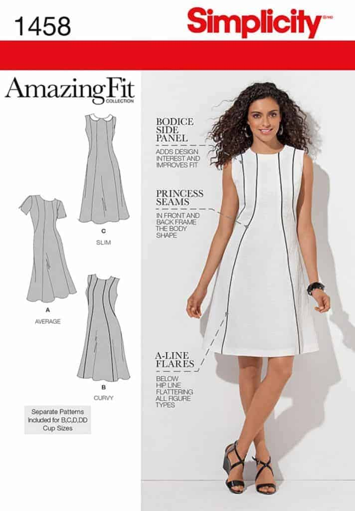 Simplicity Sewing Pattern 1458 BB Misses and Plus Size Amazing Fit Dress