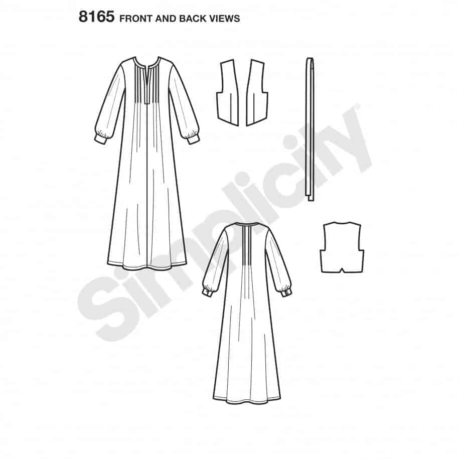 Simplicity Sewing Pattern 8165-P5 - Maxi Dress with Lined Vest and ...