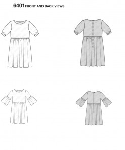 burda-swing-dress-pattern-b6401-front-back-views