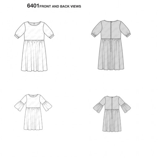 burda-swing-dress-pattern-b6401-front-back-views