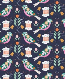 Dashwood Studio Stitch Navy Birds