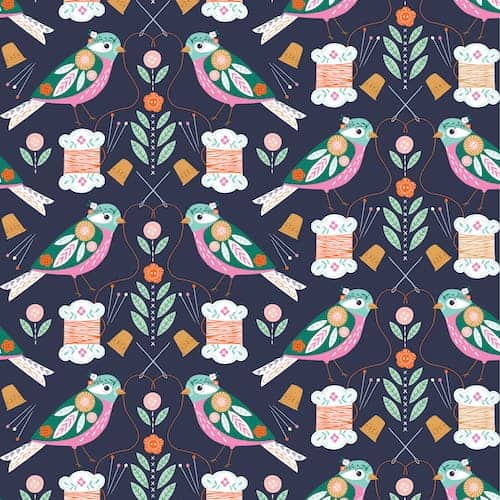 Dashwood Studio Stitch Navy Birds